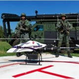 Officers from the Montgomery County Sheriff's Office display their unmanned aerial vehicle, the Shadowhawk, in Spring, Texas, in September