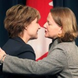 BC Premier Christy Clark - pictured here with Alberta Premier Alison Redford - has softened her support for Enbridge this past week