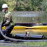 A clean-up worker at Enbridge's spill into the Kalamazoo River in 2010