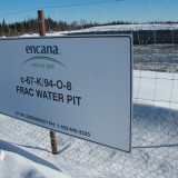 A water pit for fracking on Fort Nelson First Nation territory