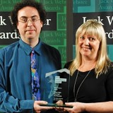 The Early Editions's Lee Rosevere and Shiral Tobin at the 2012 Webster Awards (photo by Dave Thomson)