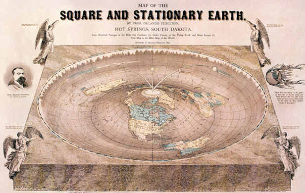 "Flat Earth map drawn in 1893. The map contains several references to biblical passages and various jabs at the ""Globe Theory"""