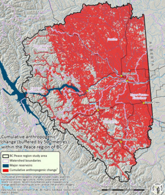 Industrial impacts on Peace region (indicated in red),  from previous DSF report
