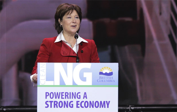 BC Premier Christy Clark addresses a conference on LNG (Damien Gillis)