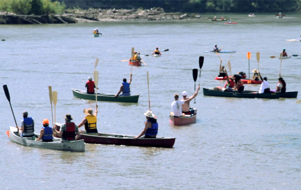 "First Nations and farmers join forces at the 2012 ""Paddle for the Peace"" to oppose Site C Dam (photo: Damien Gillis)"