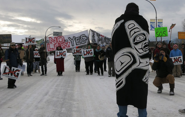 Highway 16 blockade on Saturday (Photo submitted)