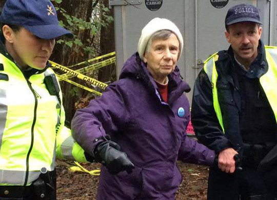 84 year-old retried librarian Barbara Grant getting arrested at Burnaby Mountain (Burnaby Mountain Updates/facebook)
