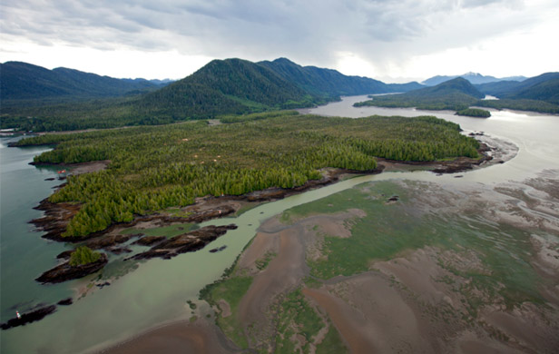 Lelu Island and Flora Bank (foreground) - site of controversial proposed LNG plant (Skeena Watershed Conservation Soc.)