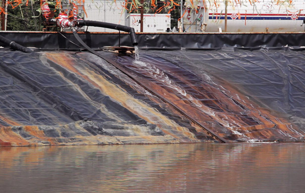 A storage pond in northeast BC containing fracking fluids (Image: Two Island Films)