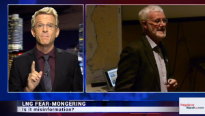 Screen capture of Regulator Watch video, in which host Brent Stafford (left) attacks Dr. Eoin Finn (right)