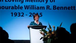 BC Premier Christy Clark speaks at former Premier Bill Bennett's funeral (Province of BC/flickr)