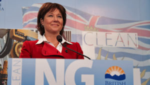 "Christy Clark promotes ""Clean LNG"" at Vancouver conference last year (David P. Ball)"