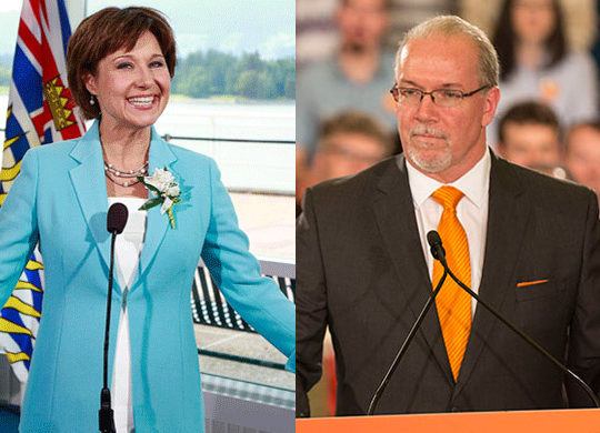 Christy Clark (Province of BC/Flickr and John Horgan (BCNDP/Flickr)