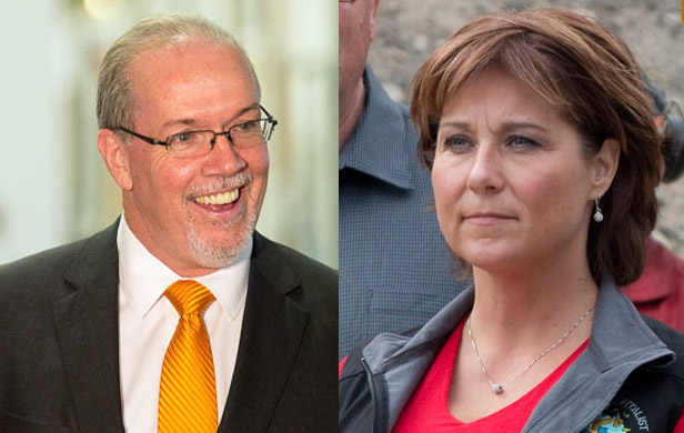 BCNDP Leader John Horgan (Flickr/BCNDP) and Premier Christy Clark (Flickr/Province of BC)