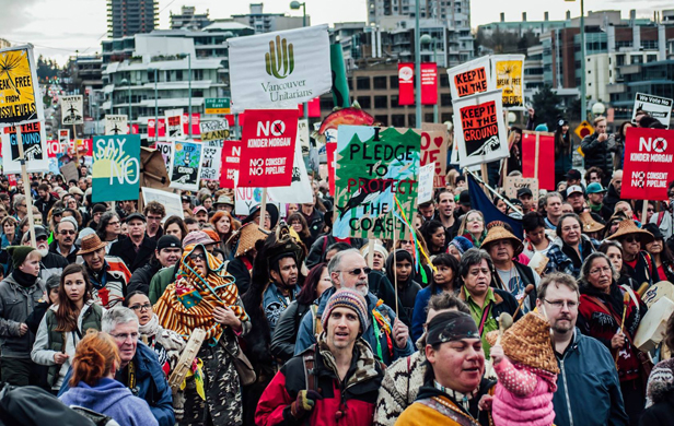 Recent Kinder Morgan protest in Vancouver (Photo: Lu Iz/Facebook)