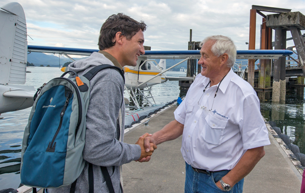 Justin Trudeau hasn't learned much about BC in the time he lived here and through visits like this one to the north coast in 2014 (Flickr/Justin Trudeau)
