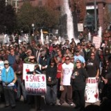 Over 700 citizens supporters took a stand at this rally for wild salmon in Vancouver - October 2009