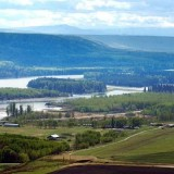 Islands and farms in the Peace River valley