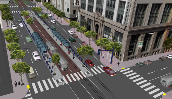 Proposed trolley Bus Rapid Transit station in San Francisco. Illustration www.sfcta.org