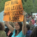 Citizens protest a proposed private power project in Kaslo, BC