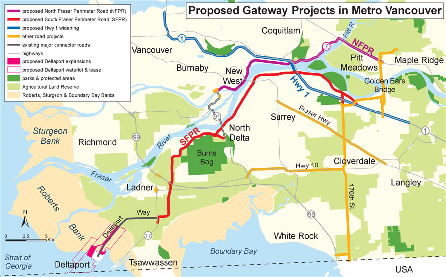 Map of proposed Gateway freeway projects in the Lower Mainland - the NFPR is shown in purple.