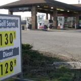 A gas station in Delta shows the recent surge in fuel prices