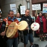 Members of the Tsilhqot'in Nation and their supporters protest outside of Taseko Mines' Vancouver offices last year