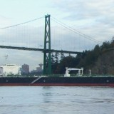 An oil tanker carries Tar Sands bitumen past Stanley Park (Paul Manly, David Maidman)