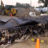 Enrbidge's burst pipeline near the Kalamazoo River in Michigan, 2010