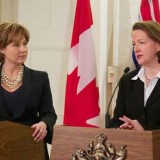 Premiers Christy Clark and Alison Redford have been engaged in a war of words recently over Enbridge's proposed pipeline (photo: 24hrs)