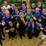 Harper's Team BC: The PM poses with his BC caucus - all of whom should resign, according to Rafe (photo: Alice Wong staff)