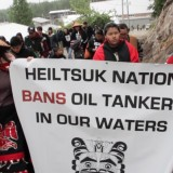 Members of the Heiltsuk First Nation arrive at the recent Enbridge JRP hearings in Shearwater
