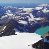 An aerial view of Jumbo Glacier, looking across at Dome Glacier. Photo by Trevor Florence