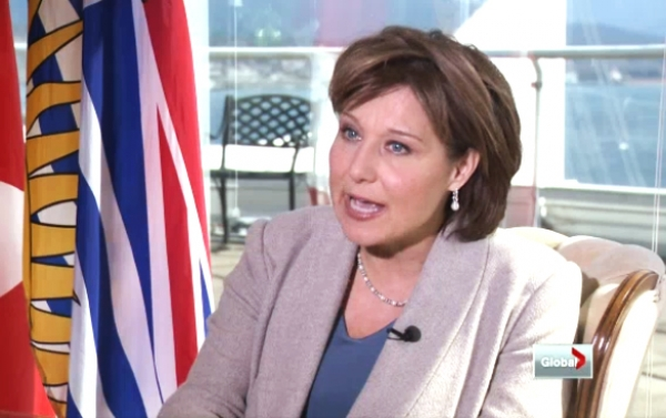 Christy Clark argues the need for Site C Dam to power LNG on Global TV last week (screen capture).