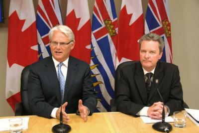 Former BC Premier Gordon Campbell and his Finance Minister Colin Hansen