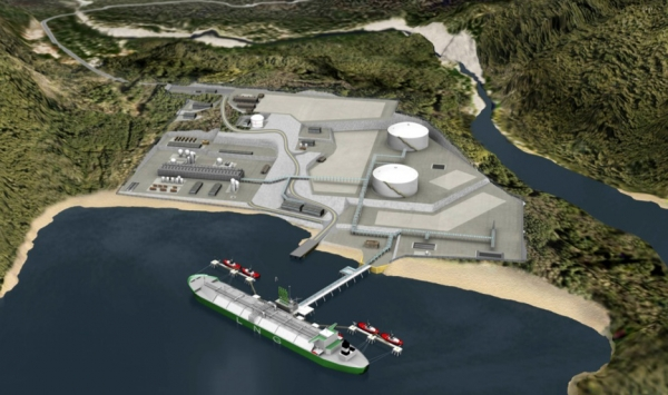 Artist's rendering of one of 5 or more proposed LNG plants for BC's coast.