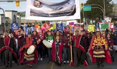 First Nations and BC citizens march together against Enbridge in Prince Rupert in 2012.