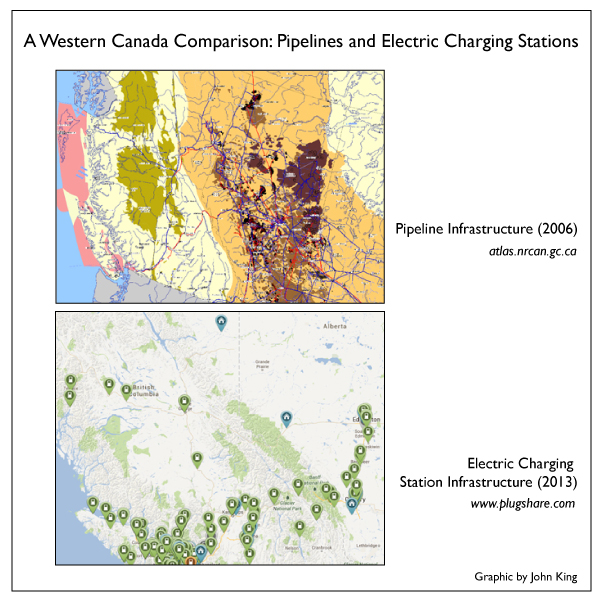 A comparison between pipeline and electric vehicle fuel pump infrastructure in Western Canada (Graphic by John King).