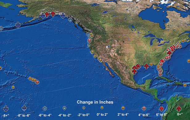 Observed changes in sea level relative to land elevation in the United States between 1958 and 2008 (Photo:  USGCRP 2009).