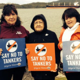 Gitga'at women erect symbolic blockade of Enbridge tanker route