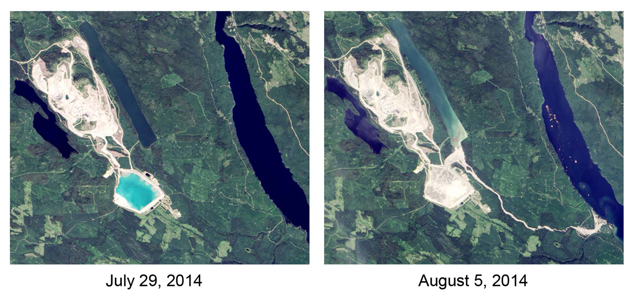 Mount Polley tailings dam -before and after