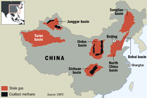 China shale gas map
