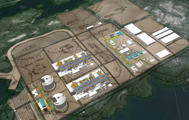 Petronas' proposed Pacific Northwest LNG project, which may include a deal with the Nisga'a Nation (artist's rendering)