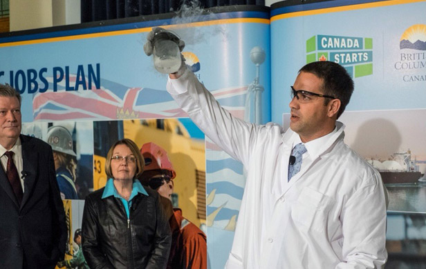 "BC Liberal ministers Rich Coleman and Shirley Bond look on at a recent demonstration about the ""science of LNG"" (BC Govt)"
