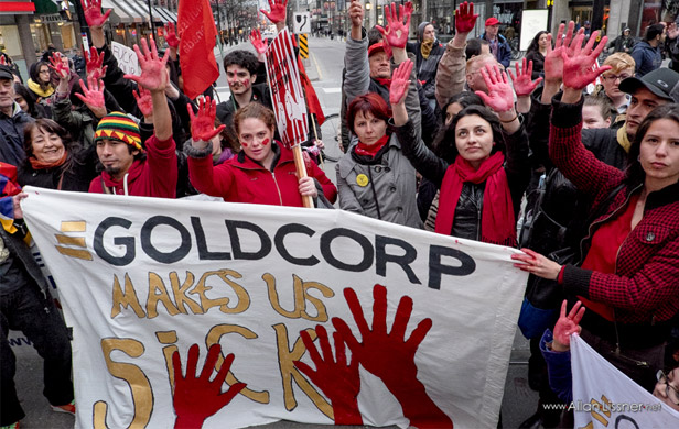 A Toronto March in solidairty with Guatemalan Goldcorp protestors (Allan Lissner)