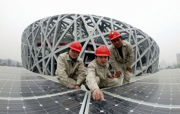 Chinese solar company Suntech at the Bird's Nest stadium