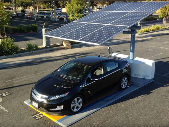 A solar ev charging station in San Francisco