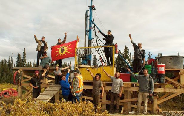 Tahltan First Nations and supporters peacefully occupying a Fortune Minerals drill last year (Beyond Boarding)
