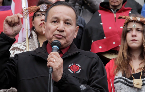 Grand Chief Stewart Phillip is among the BC First Nations leaders demanding a halt to Site C Construction (Damien Gillis)