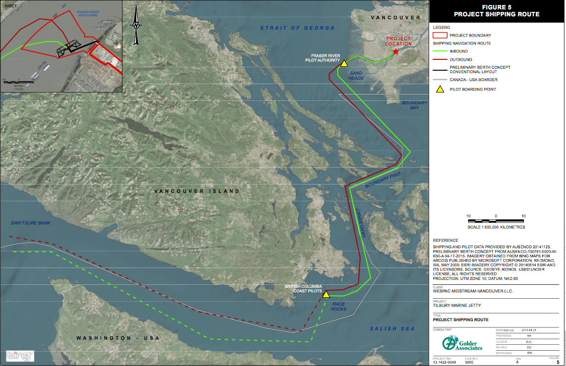 Project Shipping Route from WesPac Tilbury Marine Jetty Project Project Description CEAA Summary